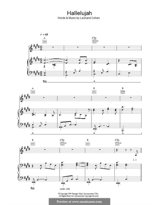 Hallelujah: For voice and piano or guitar (C Sharp Minor) by Leonard Cohen