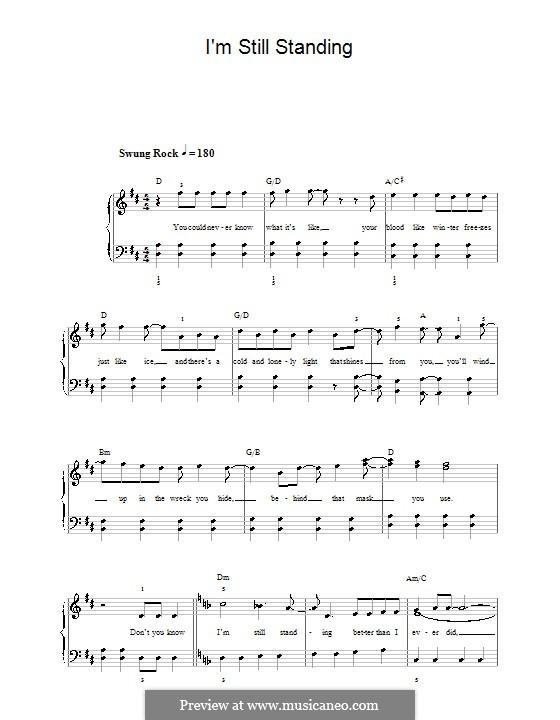 I'm Still Standing: Facil para o piano by Elton John