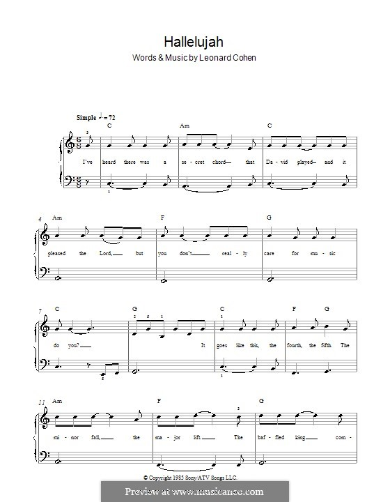 Hallelujah, for Piano: Version for easy piano (with chords and lyrics) by Leonard Cohen