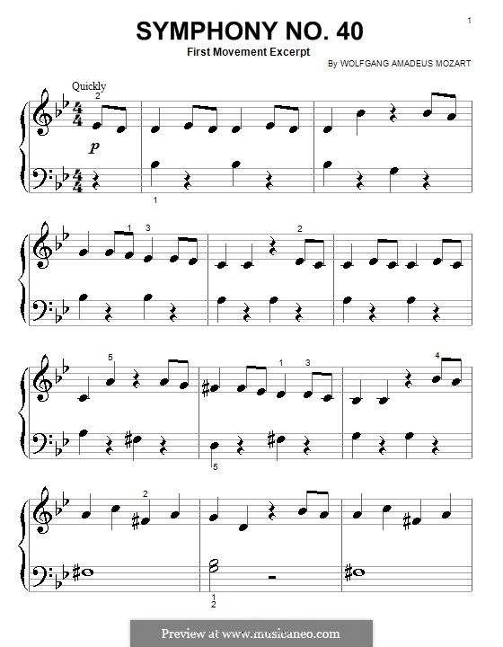Movement I: Theme, for easy piano by Wolfgang Amadeus Mozart