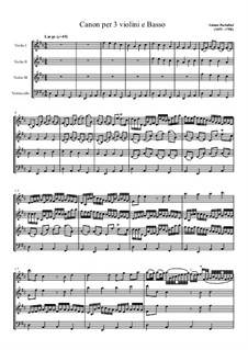 Canon in D Major: For three violins and cello by Johann Pachelbel
