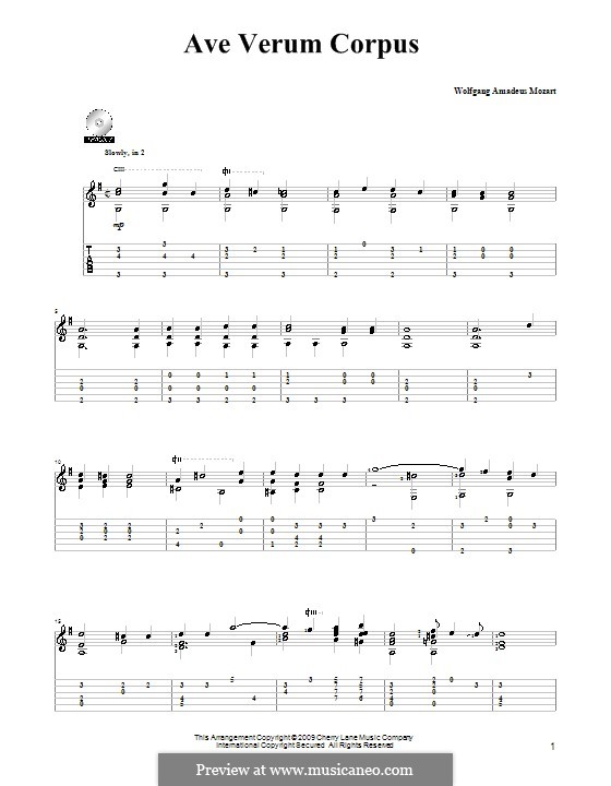 Ave verum corpus, K.618: Para Guitarra by Wolfgang Amadeus Mozart