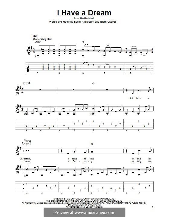 I Have a Dream (ABBA): Para guitarra com guia by Benny Andersson, Björn Ulvaeus