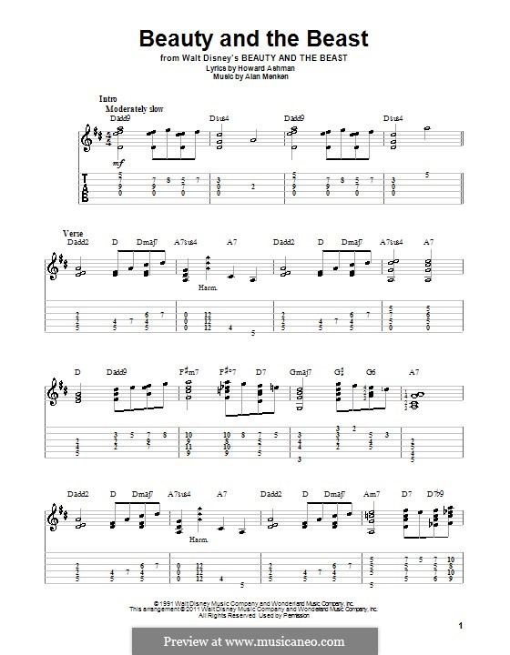 Beauty and the Beast (Celine Dion and Peabo Bryson): Para Guitarra by Alan Menken