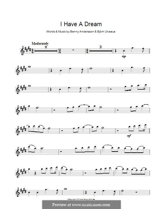 I Have a Dream (ABBA): para Saxofone Alto by Benny Andersson, Björn Ulvaeus