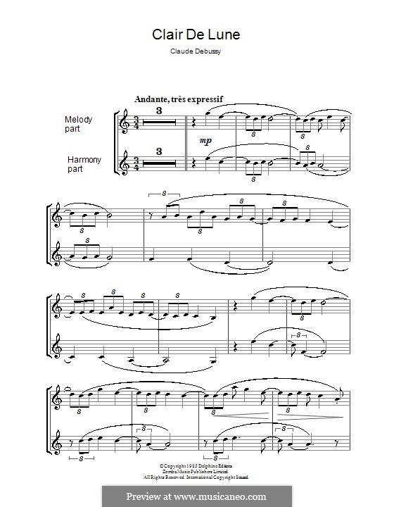 No.3 Clair de lune: para clarinete by Claude Debussy