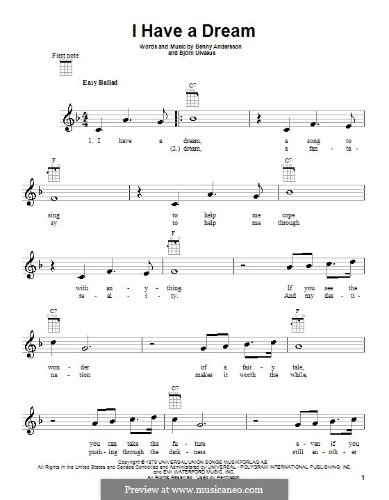 I Have a Dream (ABBA): para ukulele by Benny Andersson, Björn Ulvaeus