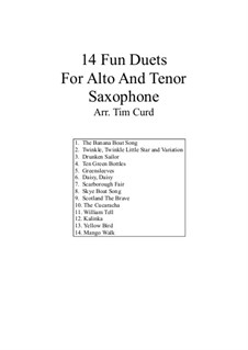 14 Fun Duets: For alto and tenor saxophone by folklore