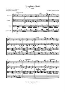 Movement I: For string quartet – score by Wolfgang Amadeus Mozart