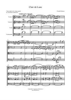 No.3 Clair de lune: For string quartet – score by Claude Debussy
