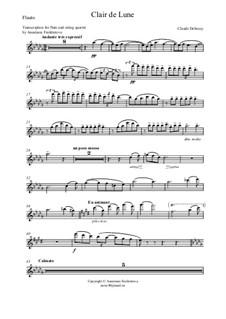 No.3 Clair de lune: For flute and string quartet – flute part by Claude Debussy