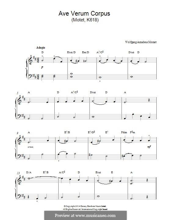 Ave verum corpus, K.618: Para Piano by Wolfgang Amadeus Mozart