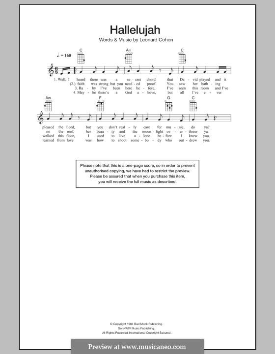 Hallelujah: para ukulele by Leonard Cohen