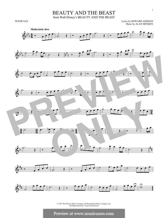 Beauty and the Beast (Celine Dion and Peabo Bryson): para saxofone tenor by Alan Menken