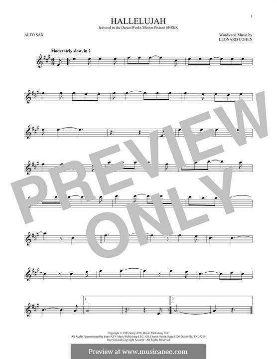 Hallelujah: para Saxofone Alto by Leonard Cohen