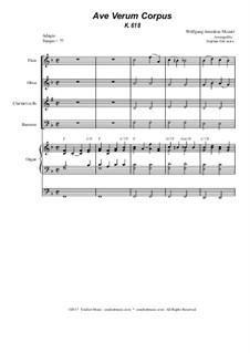 Ave verum corpus, K.618: For woodwind quartet - organ accompaniment by Wolfgang Amadeus Mozart