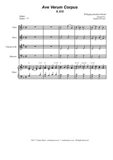 Ave verum corpus, K.618: For woodwind quartet - piano accompaniment by Wolfgang Amadeus Mozart
