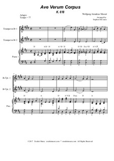 Ave verum corpus, K.618: Bb-trumpet duet - piano accompaniment by Wolfgang Amadeus Mozart