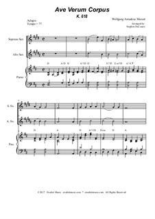 Ave verum corpus, K.618: Duet for soprano and alto saxophone - piano accompaniment by Wolfgang Amadeus Mozart