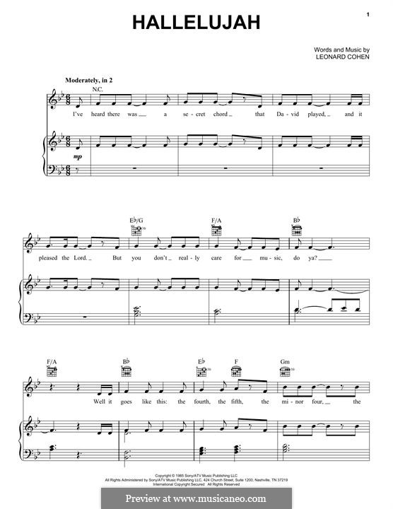 Hallelujah: Para vocais e piano (ou Guitarra) by Leonard Cohen
