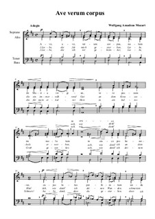 Ave verum corpus, K.618: partituras de vocais by Wolfgang Amadeus Mozart