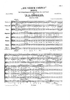 Ave verum corpus, K.618: Partitura completa by Wolfgang Amadeus Mozart