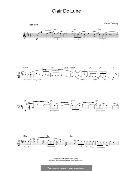 No.3 Clair de lune: melodia by Claude Debussy