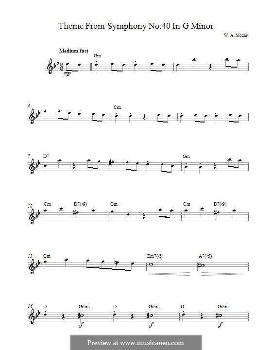 Movement I: melodia by Wolfgang Amadeus Mozart