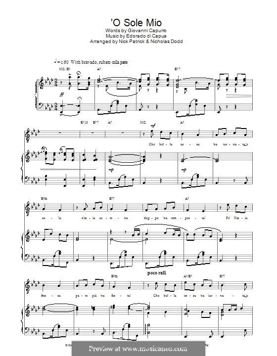 O Sole Mio: Para vocais e piano (ou Guitarra) by Eduardo di Capua