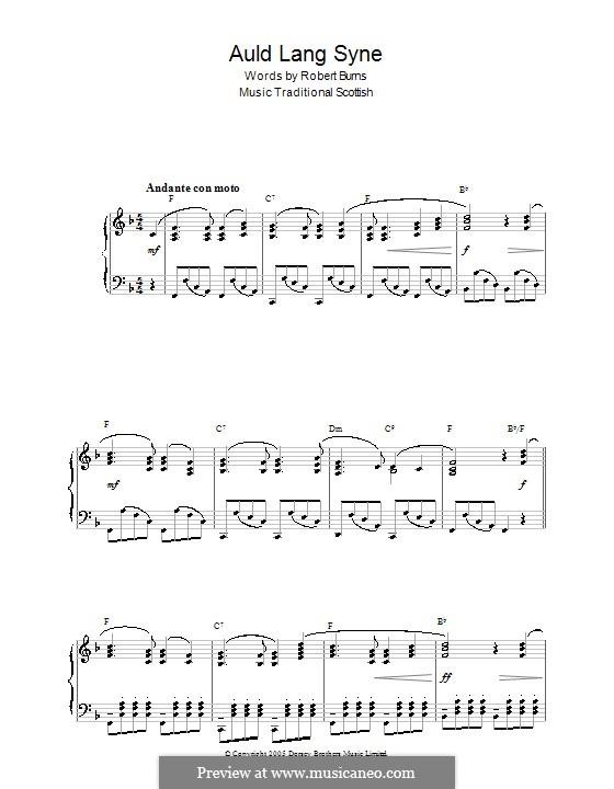 Auld Lang Syne: Для фортепиано (с аккордами) by folklore