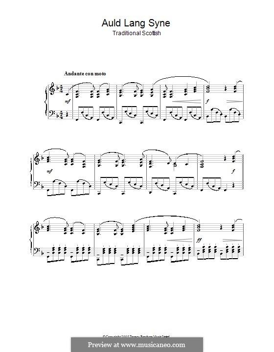 Auld Lang Syne: Для фортепиано (ноты высокого качества) by folklore