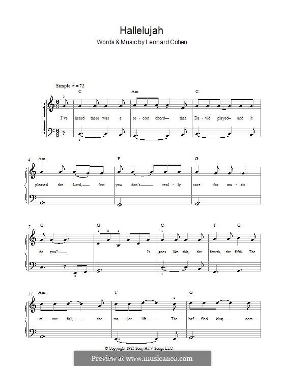 Hallelujah, for Piano: Легкая версия для фортепиано (with chords and lyrics) by Leonard Cohen