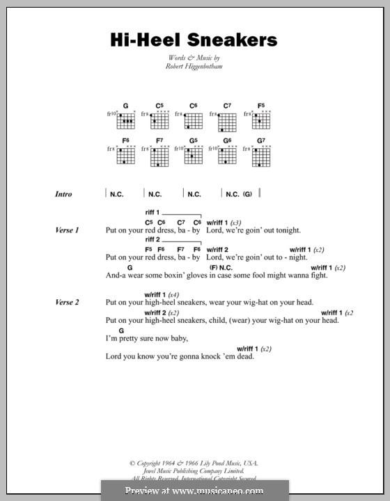 Hi-Heel Sneakers (Tommy Tucker): Текст, аккорды by Robert Higginbotham