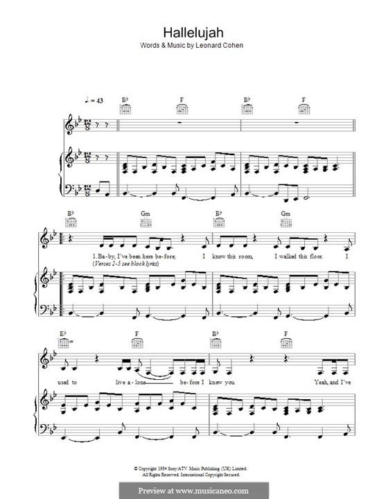 Hallelujah: Для голоса и фортепиано или гитары (си бемоль мажор) by Leonard Cohen