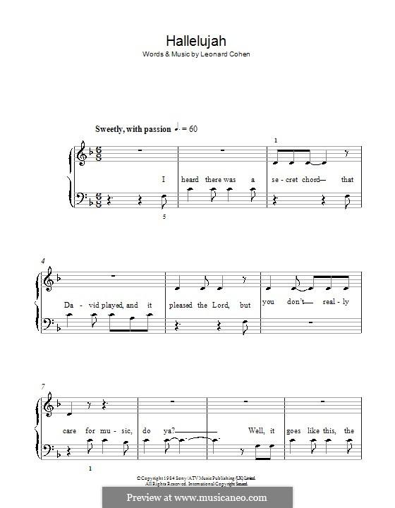 Hallelujah, for Piano: Легкая версия для фортепиано (with lyrics) by Leonard Cohen