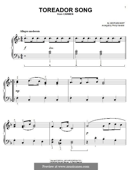 Куплеты Тореадора: Очень легкая версия by Жорж Бизе