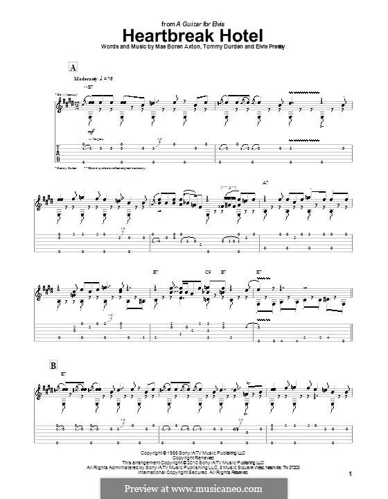 Heartbreak Hotel (Elvis Presley): Гитарная табулатура by Mae Boren Axton, Tommy Durden