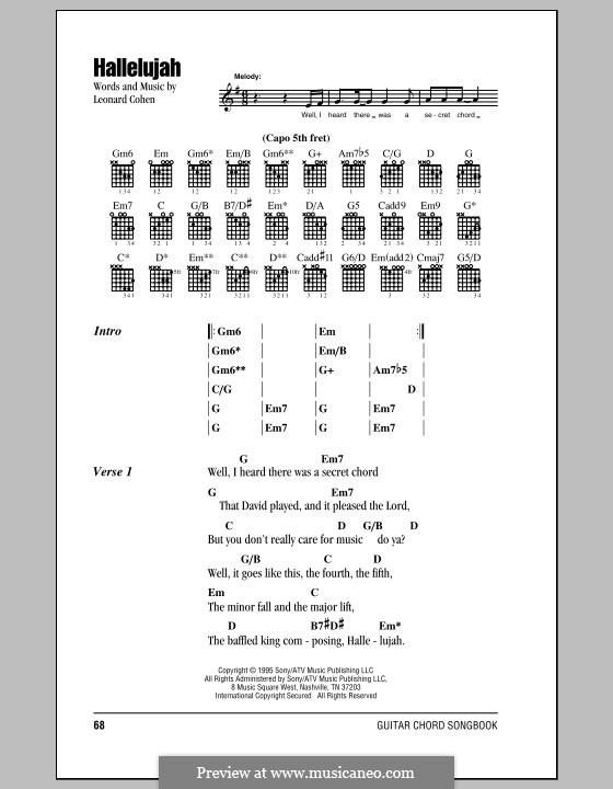 Hallelujah: Текст, аккорды by Leonard Cohen