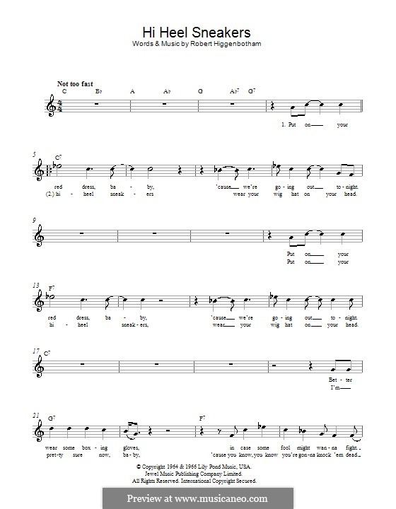 Hi-Heel Sneakers (Tommy Tucker): Мелодия, текст и аккорды by Robert Higginbotham