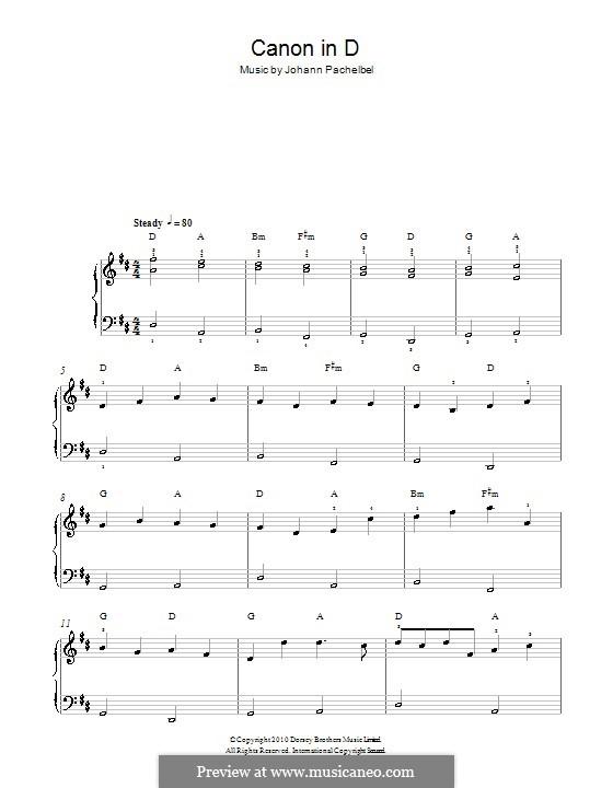 Канон ре мажор: Очень легкая версия by Иоганн Пахельбель