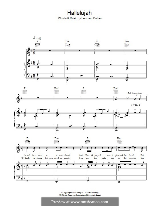 Hallelujah: Для голоса и фортепиано или гитары (фа мажор) by Leonard Cohen