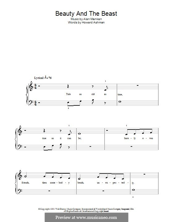 Beauty and the Beast (Celine Dion and Peabo Bryson): Для начинающего пианиста (с аккордами) by Alan Menken