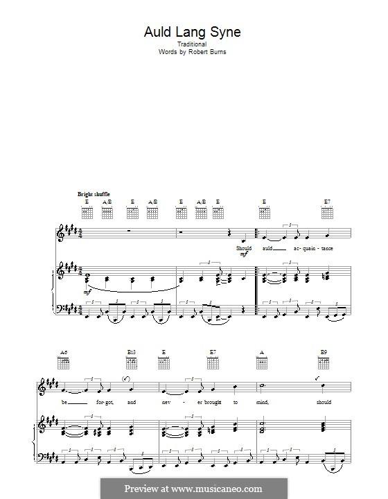 Auld Lang Syne: Для голоса и фортепиано или гитары (ми мажор) by folklore