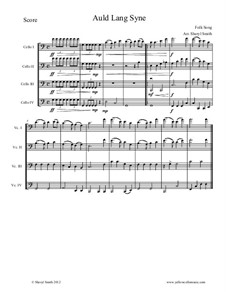 Auld Lang Syne: For four intermediate cellos (cello quartet) by folklore