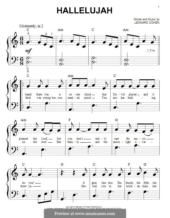 Hallelujah, for Piano: Очень легкая версия by Leonard Cohen