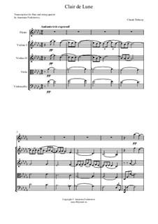 No.3 Лунный свет: Для флейты и струнного квартета – партитура by Клод Дебюсси
