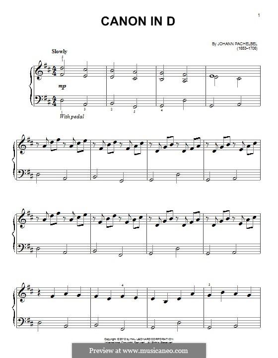 Канон ре мажор: Для фортепиано by Иоганн Пахельбель