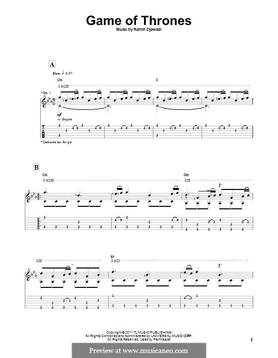 Game of Thrones: Гитарная табулатура by Ramin Djawadi