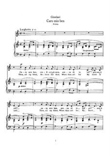 Caro mio ben (O Maiden Dear): For mezzo-soprano and piano by Томмазо Джордани