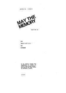 May the Memory: May the Memory by Bonia Shur